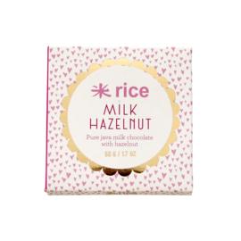 RICE Java Milk Chocolate with Hazelnut - 50 gram