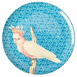 RICE melamine rond lunchbord 20cm - Vintage Bird print - Blue (nieuwe collectie High Winter 2019)