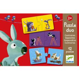 DJECO Puzzel duo - tegenovergestelden (12 x 2 stukjes) 2 jr. +