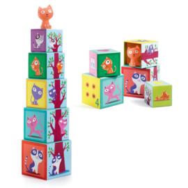 DJECO kartonnen stapelblokken met poesje - 12 mnd. +