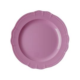 RICE melamine rond dinerbord 25cm - donker roze