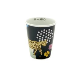 RICE beker porselein - Wild Leopard print