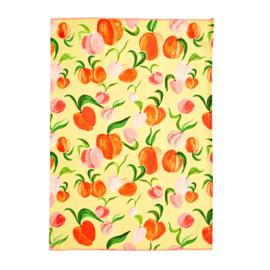 RICE theedoek - Peach print  (nieuwe collectie 'Choose Happy' 2021)