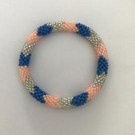 Loffs armband - blauw/ zachtroze/ wit
