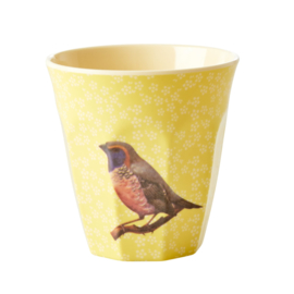 RICE beker - Vintage bird print - Yellow