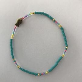 Loffs armband Tiny met vis - turquoise
