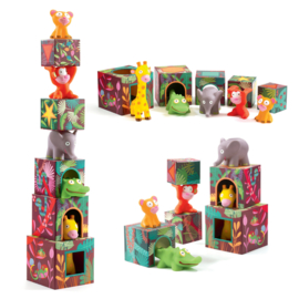 DJECO 5 stapelblokken met 5 jungle dieren 18 mnd. +