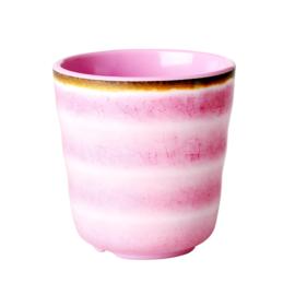 RICE beker - Swirl print - roze