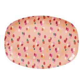 RICE melamine groot bord - coral dapper dot print