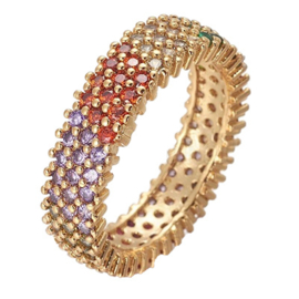 R229 - Ring in gift-box, 18K gold plated, multicolor cz, size 52 (16,5)