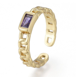 R181 - Ring in gift-box, 18K gold plated, purple cz, size adjustable