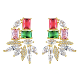 FEH11 - pair of festive earhooks in gift box with CZ cristal