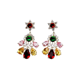 FEH09 - pair of festive earhooks in gift box with CZ cristal