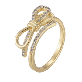 R178 - Ring in gift-box, 18K gold plated, neutral cz, size adjustable
