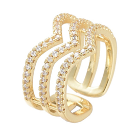 R164 - Ring in gift-box, 18K gold plated, neutral cz, size adjustable