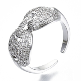 R014 - Ring in gift-box, platinum plated, neutral cz, size adjustable