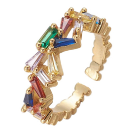 R226 - Ring in gift-box, 18K gold plated, multicolor cz, size adjustable