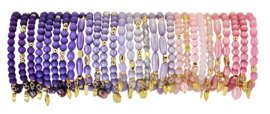 0703 - 10 bracelets refill amthyst, lilac or pink
