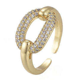 R119 - Ring in gift-box, 18K gold plated, neutral cz, size adjustable