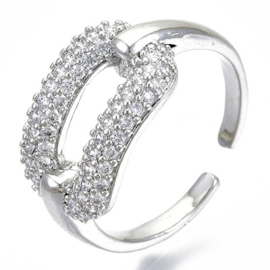 R013 - Ring in gift-box, platinum plated, neutral cz, size adjustable