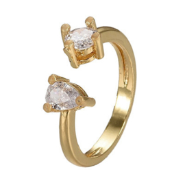 R166 - Ring in gift-box, 18K gold plated, neutral cz, size adjustable
