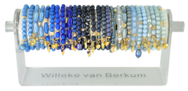 0706 - 30 bracelets on display french blue, dark blue & light blue