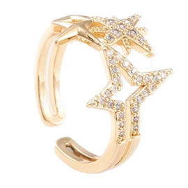R116 - Ring in gift-box, 18K gold plated, neutral cz, size adjustable
