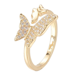 R106 - Ring in gift-box, 18K gold plated, neutral cz, size adjustable