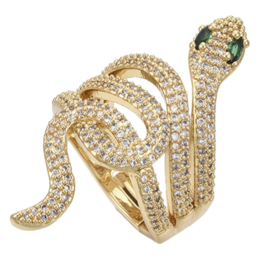 R230 - Ring in gift-box, 18K gold plated, multicolor cz, size adjustable