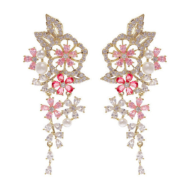 FEH10 - pair of festive earhooks in gift box with CZ cristal