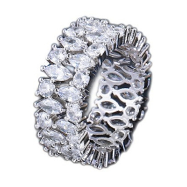 R044 - Ring in gift-box, platinum plated, neutral cz, size 58 (18,5)
