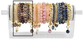PESETGD - 8 silver finish bracelets refill dark brown, vintage rose or dark blue