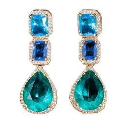 FEH07 - pair of festive earhooks in gift box with CZ cristal