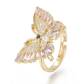 R236 - Ring in gift-box, 18K gold plated, multicolor cz, size adjustable
