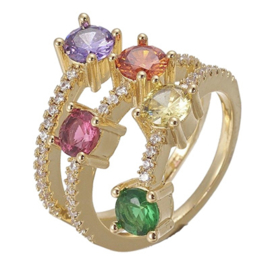 R224 - Ring in gift-box, 18K gold plated, multicolor cz, size adjustable