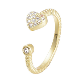 R174 - Ring in gift-box, 18K gold plated, neutral cz, size adjustable