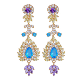 FEH08 - pair of festive earhooks in gift box with CZ cristal