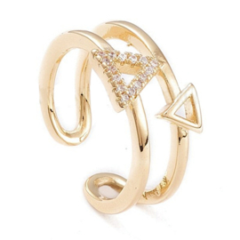 R173 - Ring in gift-box, 18K gold plated, neutral cz, size adjustable