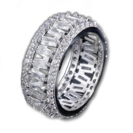R045 - Ring in gift-box, platinum plated, neutral cz, size 57 (18)