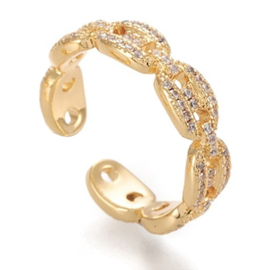 R177 - Ring in gift-box, 18K gold plated, neutral cz, size adjustable