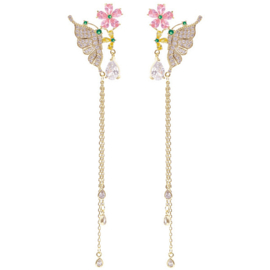 FEH02 - pair of festive earhooks in gift box with CZ cristal