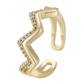R117 - Ring in gift-box, 18K gold plated, neutral cz, size adjustable