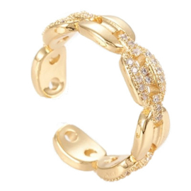 R161 - Ring in gift-box, 18K gold plated, neutral cz, size adjustable