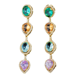 FEH05 - pair of festive earhooks in gift box with CZ cristal