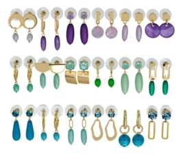 DIS18B -Refill :  1 row of 6 pairs of  earhooks