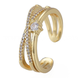 R121 - Ring in gift-box, 18K gold plated, neutral cz, size adjustable