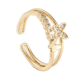R167 - Ring in gift-box, 18K gold plated, neutral cz, size adjustable