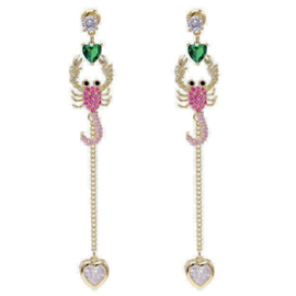 FEH04 - pair of festive earhooks in gift box with CZ cristal