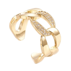 R171 - Ring in gift-box, 18K gold plated, neutral cz, size adjustable