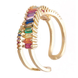 R227 - Ring in gift-box, 18K gold plated, multicolor cz, size adjustable